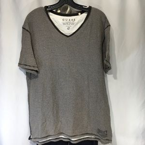 Guess Striped Tee Size XL Distressed Brown White